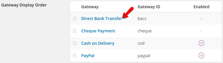 accessing the direct ban transfer payment method