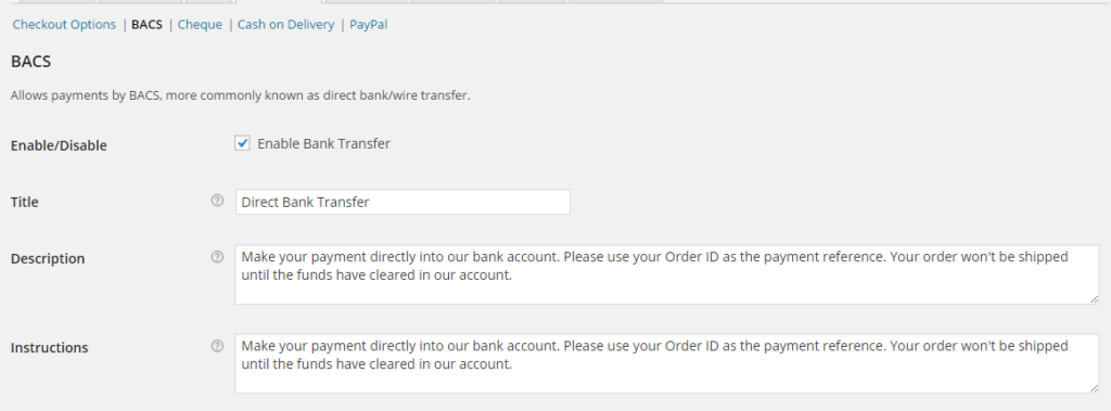 configuring bank account details