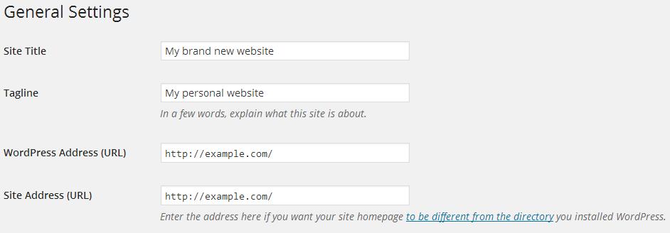 site title and tagline