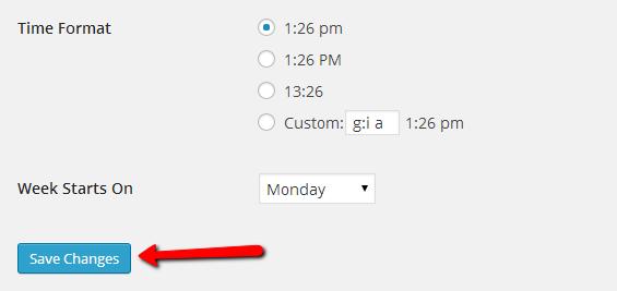 wordpress time format settings
