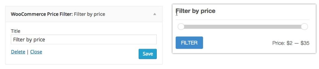 widget woocommerce price filter