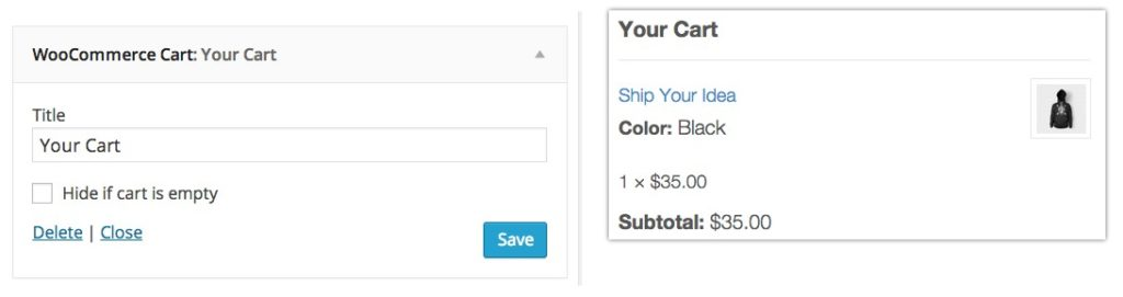 widgets woocommerce cart