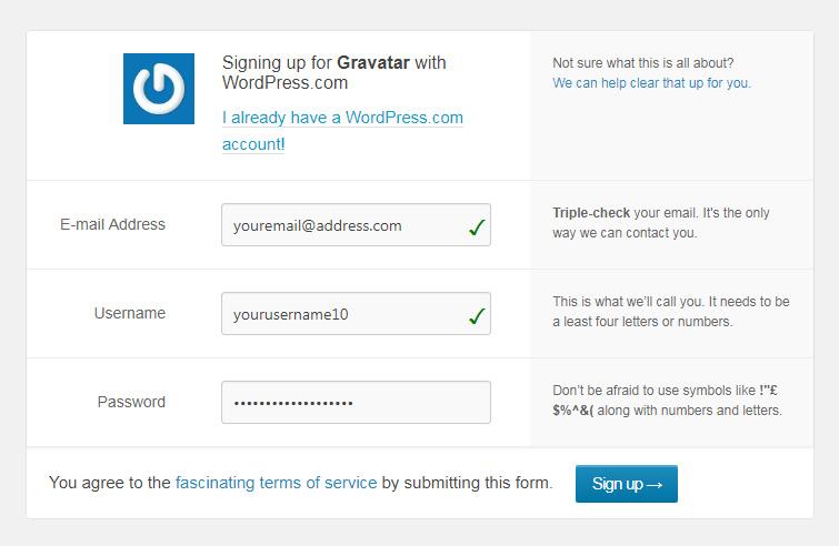 Sign up for Gravatar