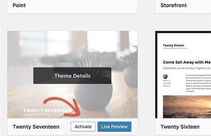 Switch to a default WordPress theme