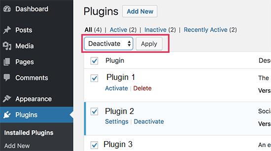 Deactivate all plugins