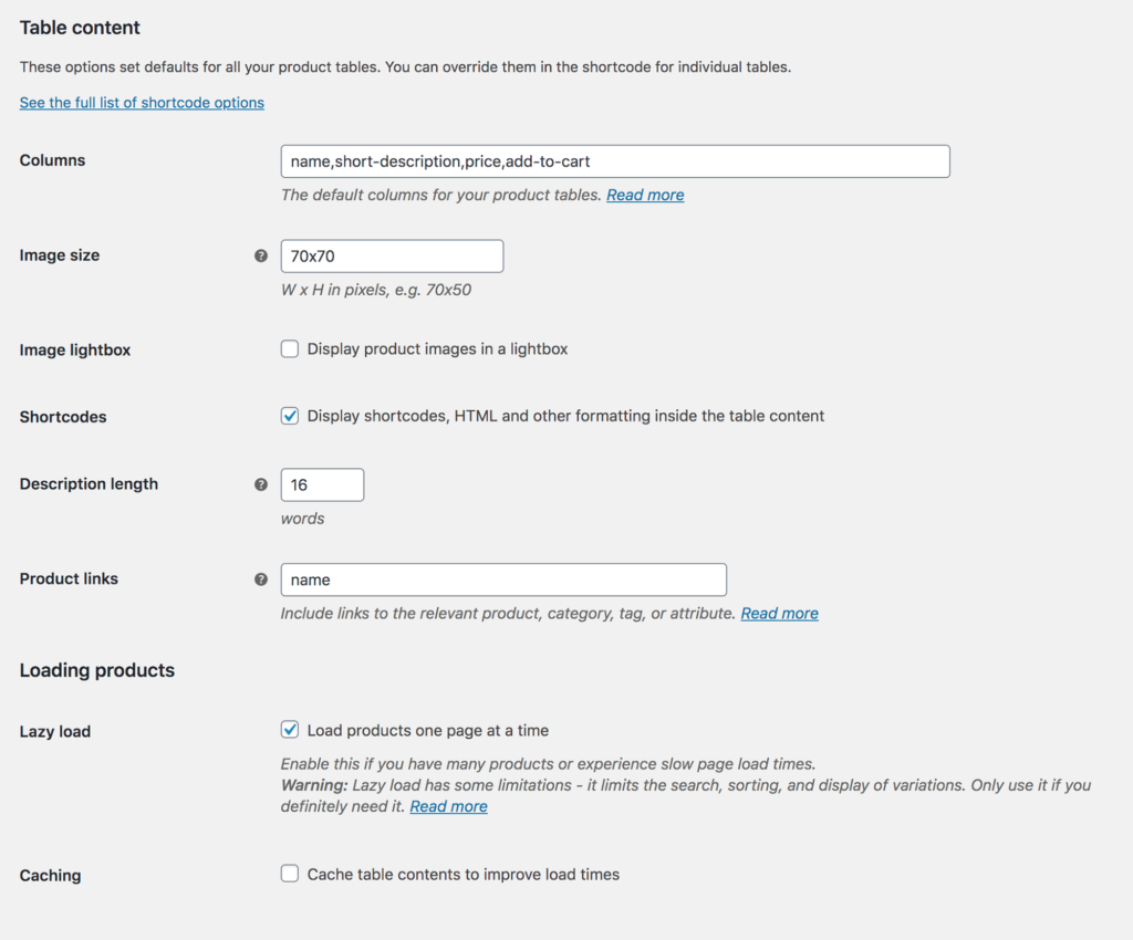 WooCommerce Product Table Content