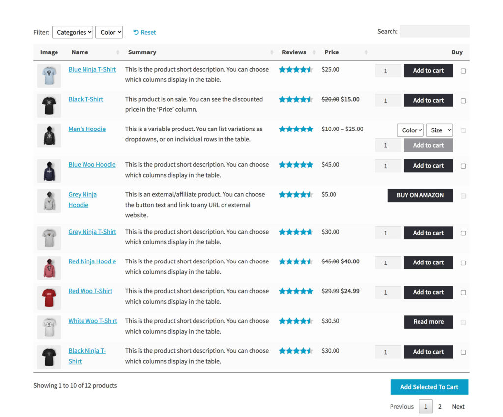 Create WooCommerce Product Table list view with customizable columns & add to cart buttons