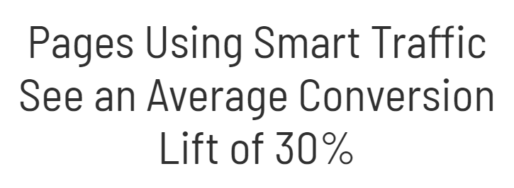 Pages uisng smart traffic see an average conversiob lift of 30%.